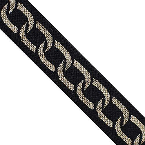EB 4001 Jacquard Elastic Glitter Gold Celtic Bands Webbing Trim, 1' (25mm) 5 Yard, DIY Sewing Crafting, Belts, Waistband.