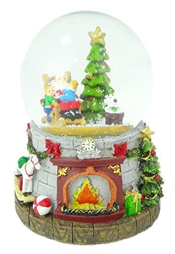 Kerstmis Concepts® 15cm Muzikale Kerstmis Resin Decoratie Met Kerstman & Boom Water Globe + Color Changing LED verlichting