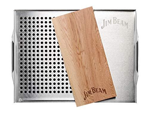 Jimbeam Jim Beam roestvrijstalen barbecue-oplegger met cederhouten plaat JB0162