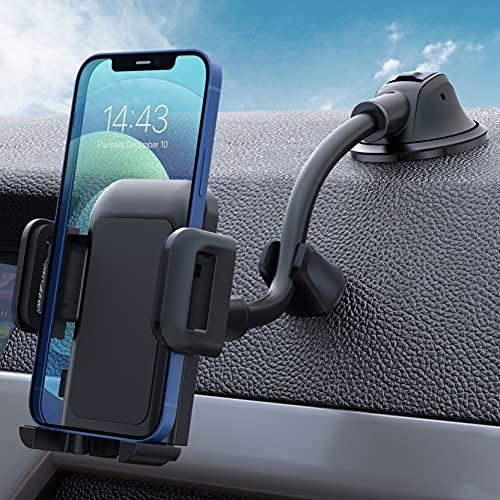 Soporte Móvil Coche, Soporte del Coche Móvil Universal para Salpicadero y Parabrisas con Ventosa de Gel Fuerte y Fijador Antivibración, para iPhone 12/11/SE/X/8/7 Plus, Galaxy S9/S8, Xiaomi, Redmi ect