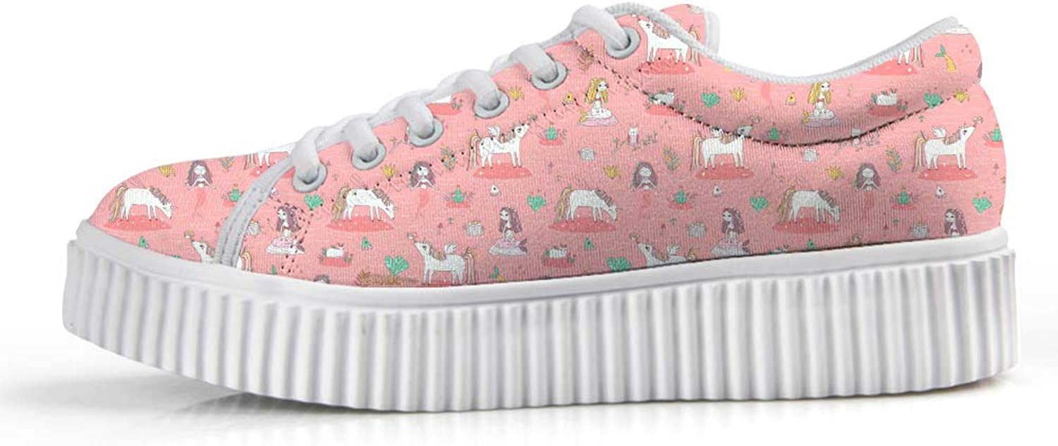 Owaheson Platform Lace up Sneaker Casual Chunky Walking shoes Low Top Women Unicorn Mermaid Frog Prince