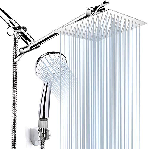 Conjunto de cabezales de ducha de lluvia con cabezal de ducha de mano, 8 '' cabezal de ducha fijado a alta presión de acero inoxidable - 5 ajuste de pulverización con cabeza de ducha manual - antidesl