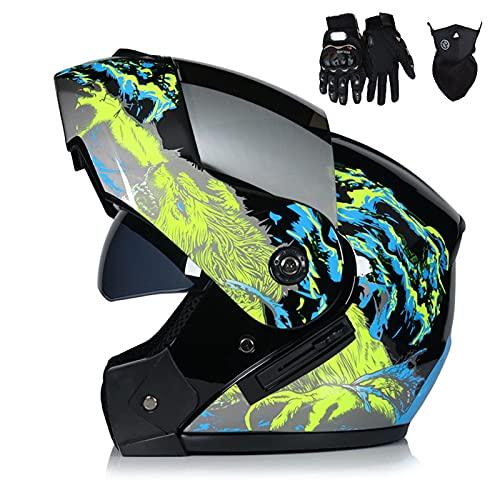 HVW Casco de Motocicleta, Aprobado por Dot/ECE Casco de Motocicleta abatible Crash Casco Integral Modular con máscara de Guantes Visera Solar Doble Casco de Motocross Frontal abatible,C,M57to58cm