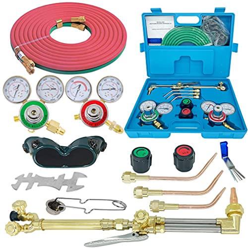 RX WELD Oxygen & Acetylene Gas Cutting Torch and Welding Kit Portable Oxy Brazing Welder Tool Set with Two Hose,Goggles,Regulator Gauges,Storage Case-Portable Cutting Torch Set Welder Tools