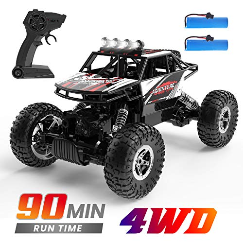 DEERC RC Cars Remote Control Car Off Road Monster Truck,1:16 Metal Shell 4WD Dual Motors LED Headlight Rock Crawler,2.4Ghz All Terrain Hobby Truck with 2 Batteries for 90 Min Play,Gift for Boys Adults