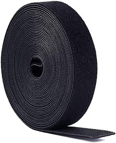 Bridas, Presilla Reutilizables, 5m x20mm Doble Cara Cables 1 rollo, Cinta para Cables Corte libre, Sujeta Cables,Tiras de(Negro)
