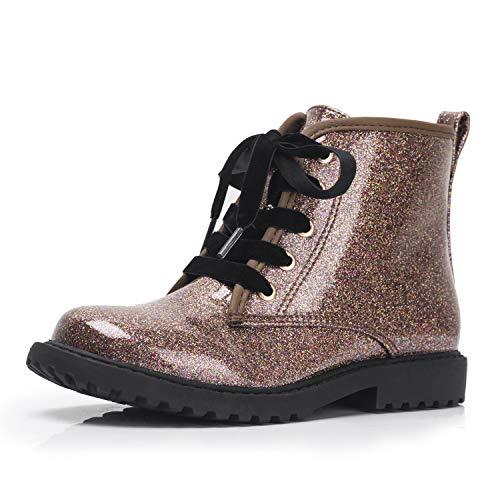 FITORY Dla dzieci dziewcząt brokatowe botki ciepłe wodoodporne buty zapinane na zamek sznurowane buty zimowe, - Brązowy brokat - 18 EU