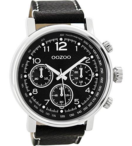 Oozoo Herrenuhr mit Lederband 48 MM Schwarz/Schwarz C9459