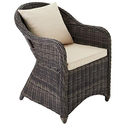 TecTake 403681 Alu Gartenstuhl Polyrattan Korbsessel inkl. Sitzkissen und Rückenkissen, grau