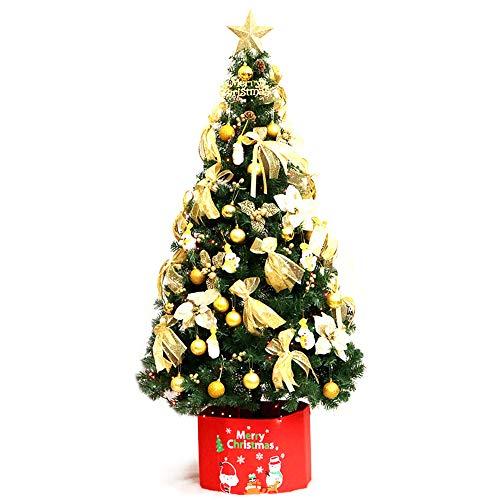 MIMI KING Énorme Arbre De Noël Artificiel De 3M/9.8 Ft avec La Boîte Rouge, Toutes Sortes De Décorations, Lumières De LED, Pieds d'arbre en Métal, pour L'extérieur D'intérieur,Gold