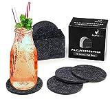 flamaroc® Filzuntersetzer Rund - 10er Untersetzer Filz Premium-Set mit Box Anthrazit Grau, Stylishe Glasuntersetzer in Dunkelgrau für Glas, Getränke, Gläser