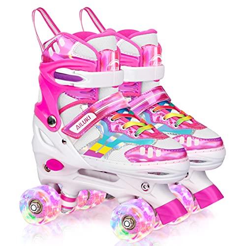 Roller Skates for Girls and Boys,4 Size Adjustable Kids Toddler Roller Skates with Light up Wheels for Toddlers Children Outdoor Indoor