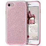 MATEPROX Funda iPhone 8,Funda iPhone 7,Funda iPhone SE 2020,Glitter Estuche Brillante Antideslizante,Protector para iPhone 7/8/SE 2020-Rosa