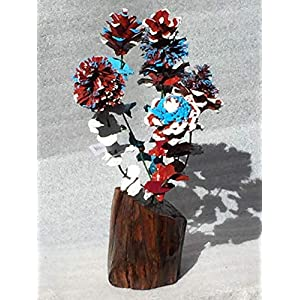Wood flowers * Red white and blue pinecone bouquet with matching leaves and manzanita base * Rose Zinnia Begonia Daisy Sunflower and Chrysanthemum * Lodge * Cabin * Great gift * Patriotic Flowers