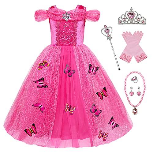 Eleasica Kostuum meisjes prinses Elsa prinses jurk aspoester vlinder ijskoningin kostuum korte mouwen Kerstmis carnaval Halloween cosplay toverstaf kroon - roze - 3 ans