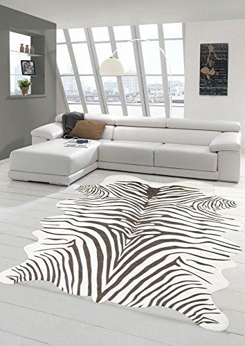 Merinos Zebra Teppich Fellimitat Zebrafell Teppich Kunstfell in Beige Größe 100x150 cm