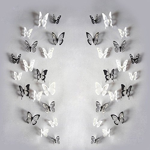 Haimoburg 72er-Set 3D Schmetterling Aufkleber Wandsticker Wandtattoo Wanddeko für Wohnung, Raumdekoration