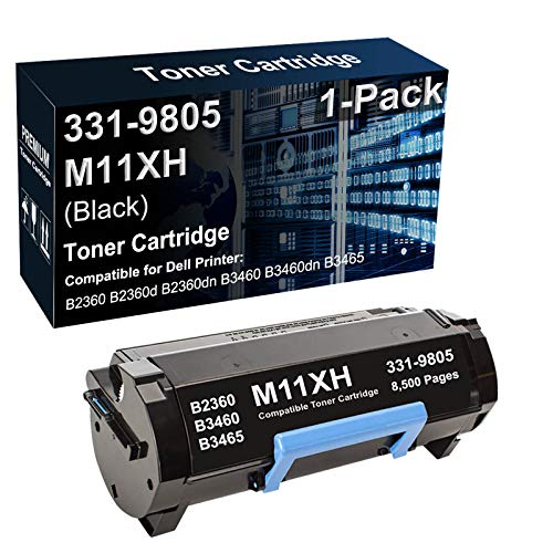 1-Pack Compatible High Capacity 331-9805 M11XH C3NTP Laser Printer Toner Cartridge Used for Dell B2360 B3460 B3465 Printer (Black 8,500 Pages)