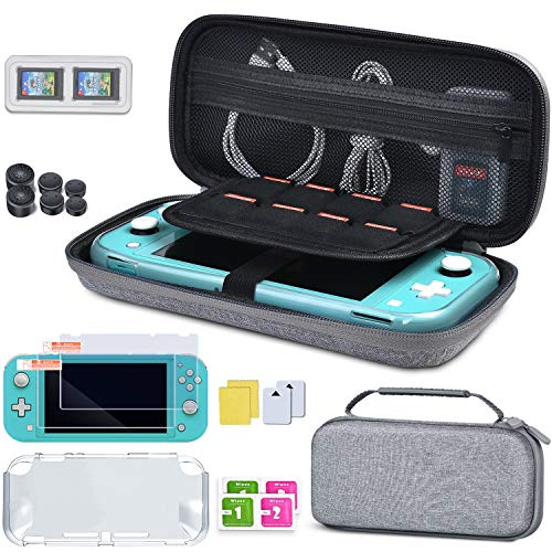 beboncool-carrying-case-for-nintendo-switch-lite-5-in-1-hard-shell-travel-case-with-switch-lite-screen-protector-tpu-cover-game-card-case-3-pairs-joystick-caps-for-nintendo-switch-lite-accessories