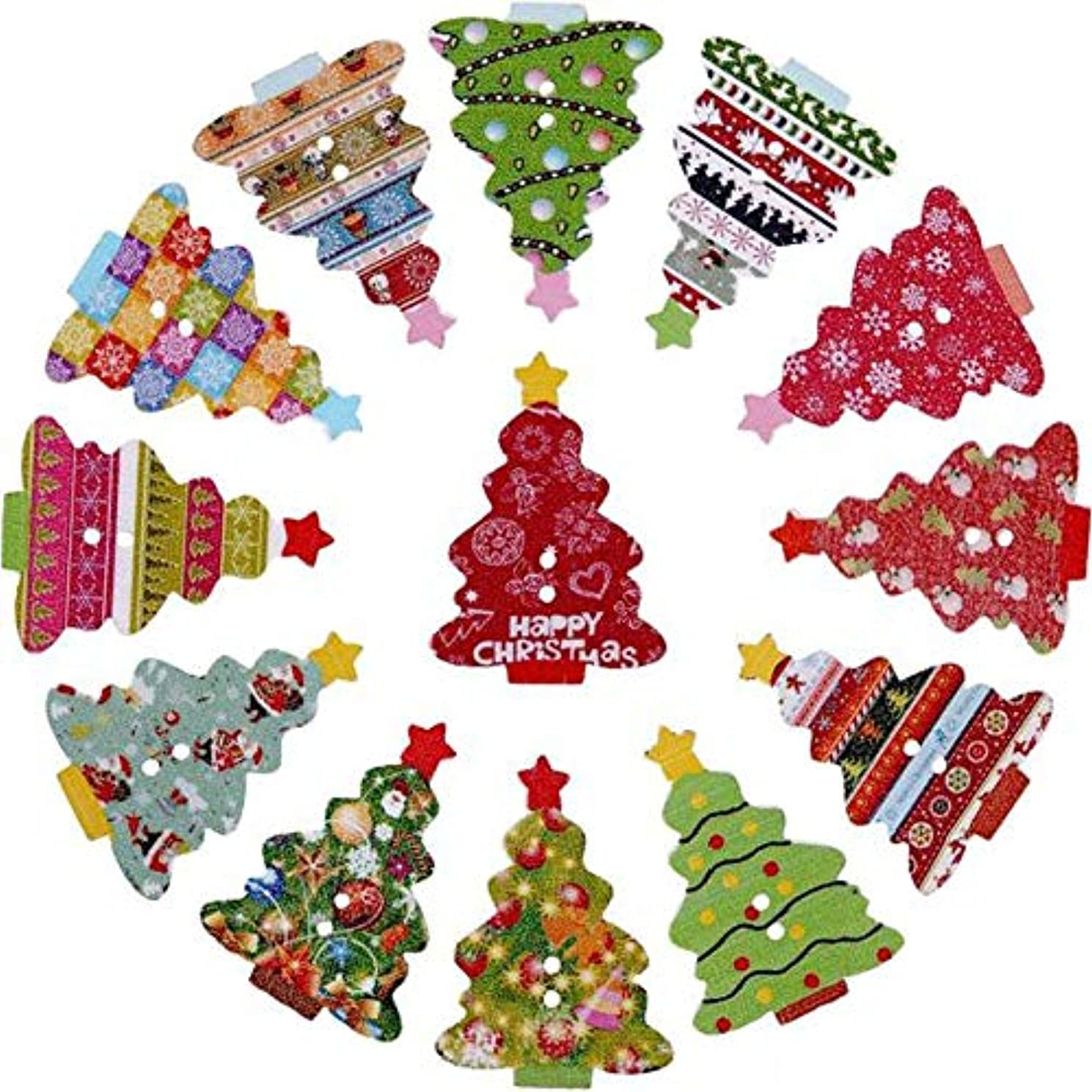 XGuangage Mixed Random Christmas 2 Holes Wooden Buttons for Sewing Crafting (100pcs Tree)