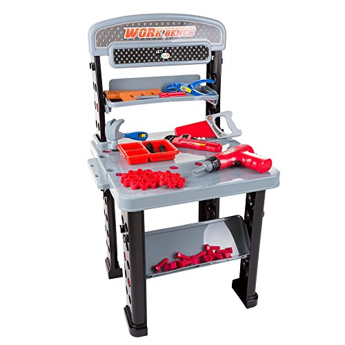 Hey! Play! Tool Bench – 75-Piece Toy Pretend Woodworking and Mechanic Workshop for Toddlers and Children with Battery Powered Drill and Accessories