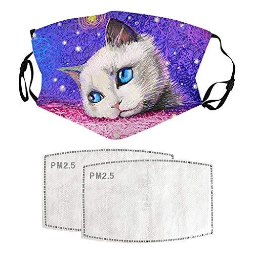 Lialbert - Máscara bucal 3D con diseño de gato y mariposa, lavable y transpirable, tejido bandana para el cuello, boca y nariz A1. Talla única