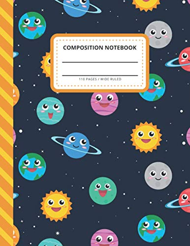 Composition Notebook: Smiling Happy Face Planets Sun Moon - Outer Space Pattern / Wide Ruled Notebook Paper for Kids / Large Writing Journal for ... / Back to School for Boys Girls Children