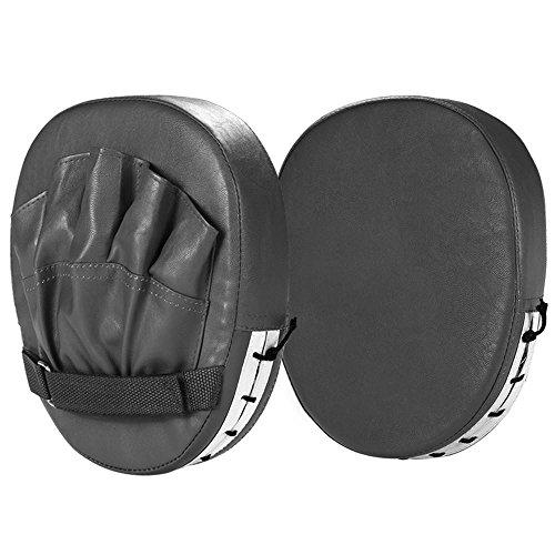 Yaheetech 2PCS Punching Boxing Mitts MMA Gloves Punch Boxing Mitts Pads Exercise Workout Boxing Punch Mitts Training PU Leather Black