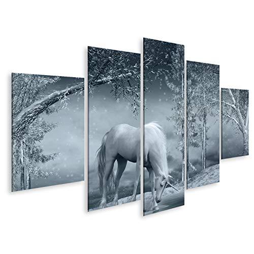 bilderfelix® Bild auf Leinwand Winterlandschaft mit Einhorn, Bach und Bäumen Wandbild, Poster, Leinwandbild QRZ