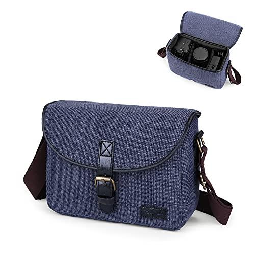 UBORSE Custodia per Fotocamera SLR con Tracolla, Borsa Digitale Compatte Piccola in Tele, Borse a Spalla per Reflex Fotocamere Mirrorless Protezione, Blu