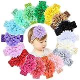 Hcimooy 18 Stücke Baby Mädchen Stirnbänder Chiffon Blume Weiche Elastische Haarband Haarschmuck für Neugeborene Kleinkinder …