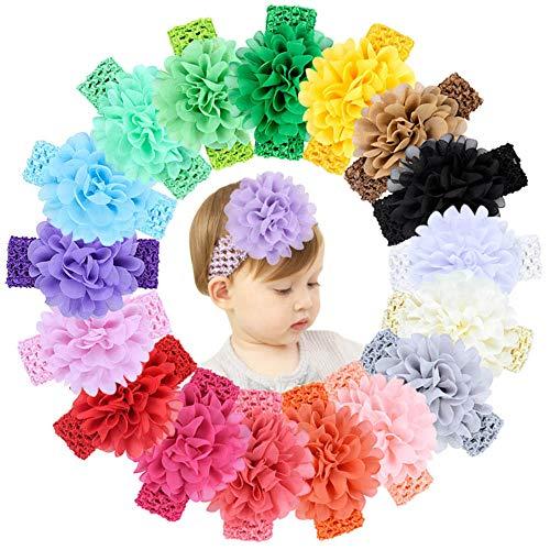 Hcimooy 18 Pcs Neonate Fasce Fiore Chiffon Morbido Elastico Fascia per capelli Accessori per Capelli per Neonati Toddlers