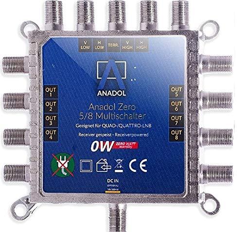 [ Test 2X SEHR GUT *] Anadol Zero Watt - Stromloser Multischalter für Satellit 5/8 für 8 Teilnehmer - Eco Sat-Verteiler - Quattro & Quad LNB tauglich - Digital - HD+ HDTV UHD und 4K-Sat-Switcher