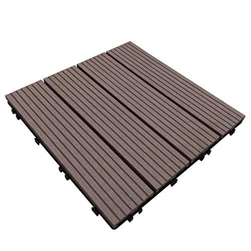 ウッドパネル ウッドタイル ウッドデッキ 人工木 25枚セット (2019年8月22日仕様変更) 樹脂 ベランダタイル 木製タイル (タイプB・ダークブラウン)