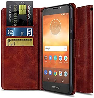 Moto E5 Cruise Case, Moto E5 Play Case, OTOONE [Flip Folio] Heavy Duty Shock Proof PU Leather Wallet Card Slot Protective Phone Cover with Kickstand for Motorola Moto E Play 5th Gen 2018 (Burgundy)