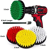 5 Piece Soft, Medium and Stiff Power Scrubbing Brush With 6 Inch Size Extender Drill Attachment for Cleaning Showers, Tubs, Bathrooms, Tile, Grout, Carpet, Tires and Boats by DrillStuff