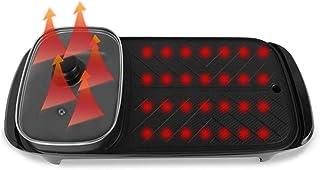 Teppanyaki antiadherente plancha eléctrica parrilla eléctrica sin humo con la olla caliente con control de temperatura ajustable 2 zonas de cocción con recubrimiento de PE y el vidrio templado tapa fr