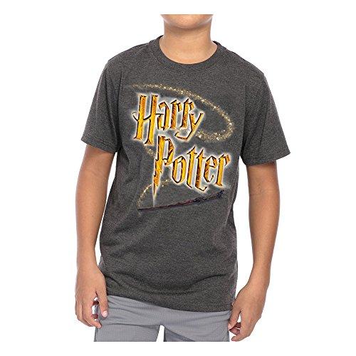 Harry Potter Logo Wand Youth T-Shirt, Dark Gray Heather, Medium (8)