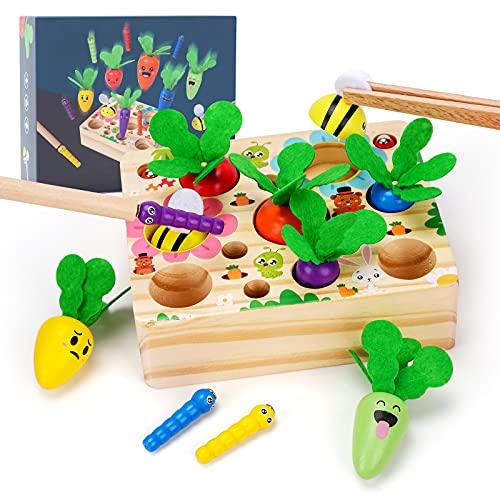 Regalo de cumpleaños para 1, 2 o 3 años, juguete para niños para 1, juguete de madera, juguete Montessori, juguete de 1 a 5 años para niñas, clasificador, juego de pesca