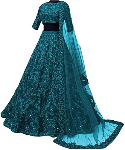 Ambellish Women's Satin Semi-stitched Lehenga Choli (drt-09_Rama_Free Size)