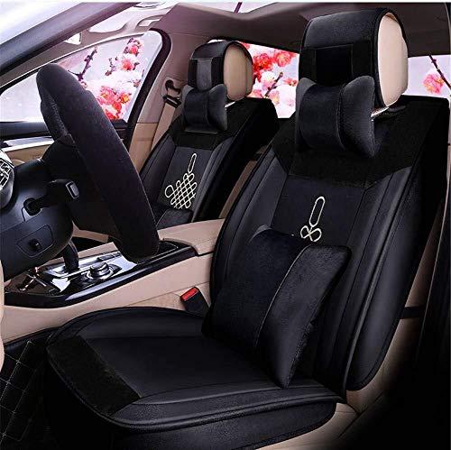Preisvergleich Produktbild Winter kurze Plüsch-Auto-Sitzkissen,  chinesische Art-Stickerei-Warm-Sitzabdeckung,  geeignet for die meisten Fünfsitzer Autos (Color : Black)