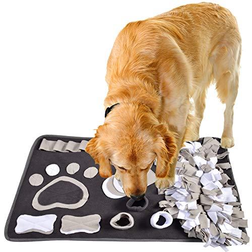 IEUUMLER Schnüffelteppich für Hunde Riechen Trainieren Intelligenzspielzeug Futtermatte Trainingsmatte für Haustier Hunde Katzen IE081 (82x50cm, White & Dark Grey)