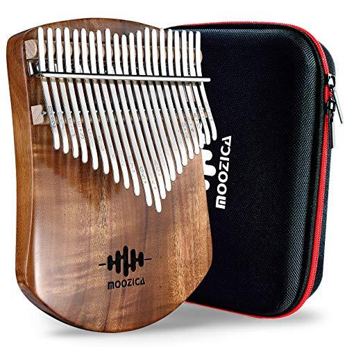 MOOZICA 21 Keys Solid Koa Kalimba, placa de madera maciza profesional, Kalimba Thumb Piano Marimba con instrucciones de aprendizaje y bolsa de transporte de alto rendimiento (Acacia Koa, 21 teclas)