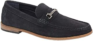Roamers Dominic Mens Suede Slip On Moccasin Loafers Sand