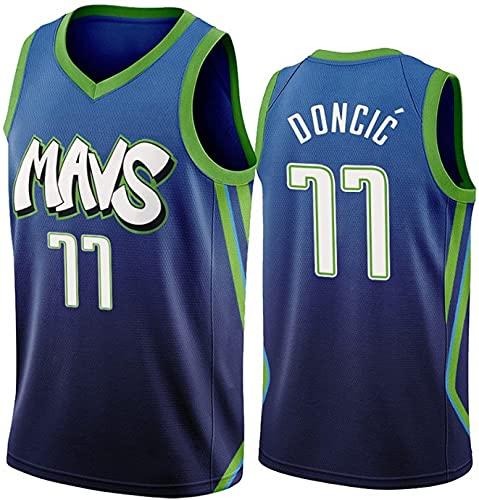 Camiseta de Baloncesto para Hombre - Camiseta de Dallas Mavericks Luka Doncic # 77, Camiseta de Uniforme de Baloncesto City Edition, Camiseta de Baloncesto de Malla(Size:/SG,Color:G1)