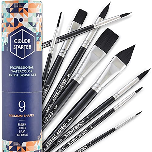 Color Starter Watercolor Paint Brush Set – 9 pc Professional Water Color Brushes for Artist Painting, Large & Small, Flat & Round Shapes