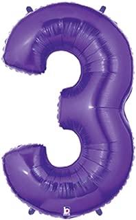 Betallic Foil Balloon 15843PB Number 3 - Purple Megaloon, 40