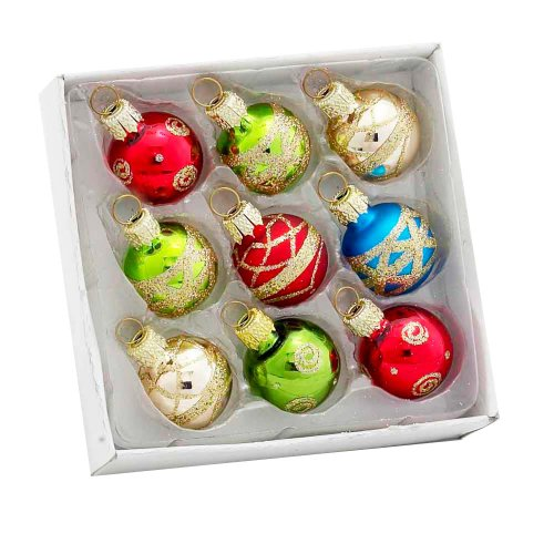 Kurt Adler Petite Treasures Multi Color Ball Christmas Ornament, Set of 9