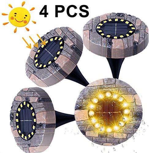 GTRBV Direct 4 stks IP65 Waterdichte Hars Solar Lights Tuin 16LED Warm Wit Landschap Verlichting LED Inbouw Spotlight Vloerlamp Outdoor Voor Yard Oprit Gazon