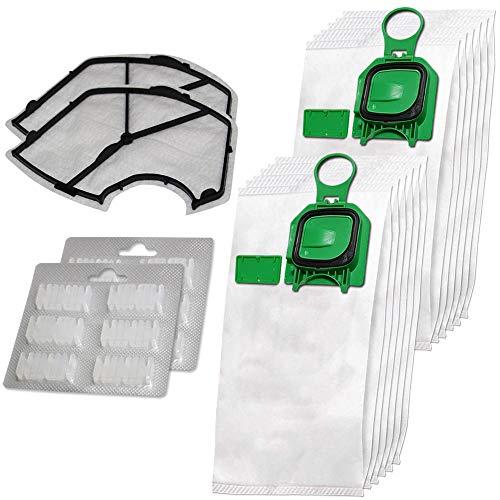 Set di 12 Premium sacchetti per aspirapolvere in microfibra + 12 profumi + 2 filtri di protezione del motore adatti per Folletto Vorwerk Kobold 140, 150, VK 140, VK 150, VK140, VK150, FP140, FP150